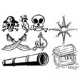 pirate elements in black outline vector image
