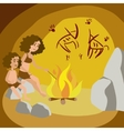 Primeval woman with child in cave cartoon vector image vector image