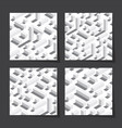 seamless patterns set with isometric blocks vector image vector image