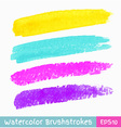 set colorful watercolor brush strokes vector image vector image