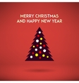Stylish christmas and new year tree on a red vector image vector image