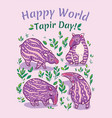 tapirs greeting card pink with light vector image vector image