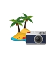 tropical island and camera icon vector image