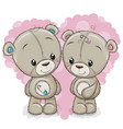 two cartoon bears on a background of heart vector image vector image