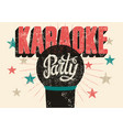typographic retro grunge karaoke party poster vector image vector image