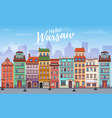 warsaw cityscape banner in flat style europe vector image
