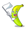 with flag fruit green bananas isolated on mascot vector image vector image