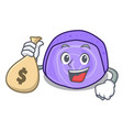 with money bag blueberry roll cake character vector image vector image