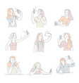 women taking selfies on smartphone isolated icons vector image vector image