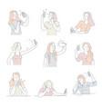 women taking selfies on smartphone isolated icons vector image
