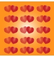 Red hearts on a yellow background vector image