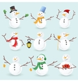 Winter christmas snowmans collection vector image
