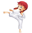 A young lady doing karate vector image vector image