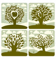 art of green trees with swing growing on vector image vector image