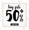 big winter sale coupon with black calligraphy font vector image