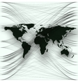 Black color world map with abstract waves and