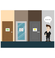 businessman think about choosing the door vector image vector image