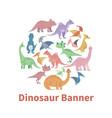cartoon dinosaurs banner vector image vector image