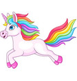 cartoon rainbow unicorn isolated on white backgrou vector image