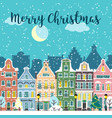 christmas city street winter landscape vector image vector image