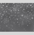 christmas snow on dark transparent background vector image vector image