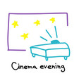 cinema evening movie projector watching films vector image
