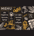 coffee menu background in vintage style vector image vector image