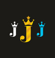 colorful j initial letter with crown logo vector image