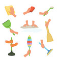 colorful set of human hands using rag dust brush vector image