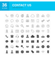 contact us line web glyph icons vector image