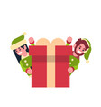 Couple girl boy elf santa claus helper looking