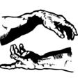 creation hands vector image vector image