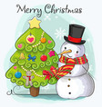 cute cartoon snowmen in a hat vector image