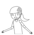 cute young girl smiling with sport helmet vector image vector image