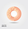 donut with glaze icon in flat style vector image