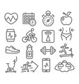 fitness and gym line icons vector image vector image