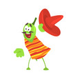 funny cartoon smiling green pepper character vector image vector image