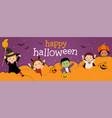 happy halloween banner with kids vector image