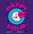 happy hour poster flyer design pink sky blue vector image