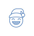 happy new year emoji line icon concept happy new vector image
