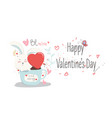 happy valentine daylovely cartoon rabbit with vector image vector image
