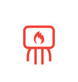 heating system icon on white vector image vector image