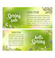 hello spring sale lettering sakura blossom vector image vector image