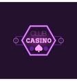 Hexahedron Casino Purple Neon Sign vector image