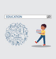 holding book boy with education search engine bar vector image vector image