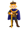King with sword and crown vector image vector image