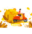 man riding on motorbike vector image