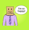 man with box happy emoji on head pop art vector image vector image
