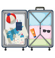 modern suitcase with travel object vector image vector image