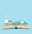 open book of north pole background vector image vector image